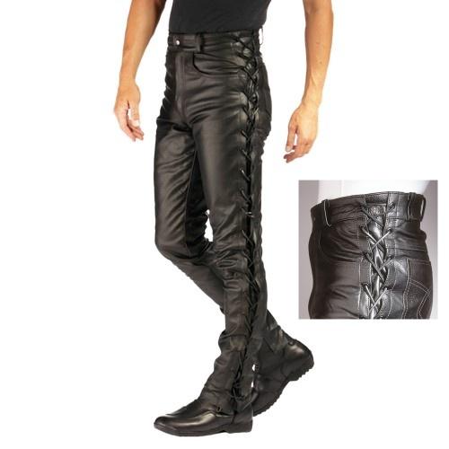 694d9fd022ba Kožené nohavice na motorku na šnurovanie